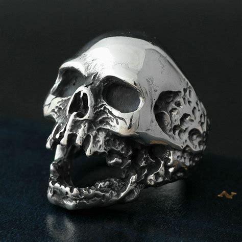 Skull Ring Vintage s rocker biker vintage silver 316l