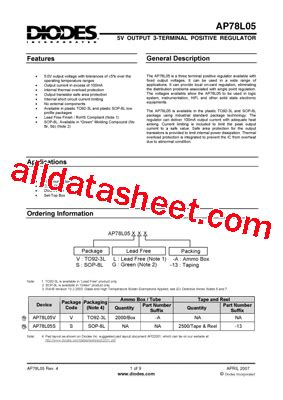 diodes incorporated bcd ap78l05 datasheet pdf diodes incorporated