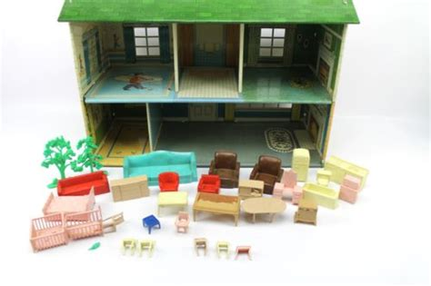 vintage 1950s marx toy disney tin litho 2 story colonial doll house w furniture what