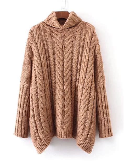 cable knit turtleneck sweater pattern cable knit turtleneck oversized sweaterfor women romwe