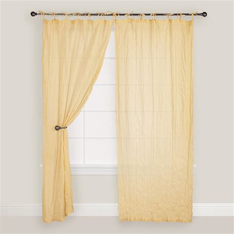 Yellow Crinkle Voile Cotton Curtain World Market