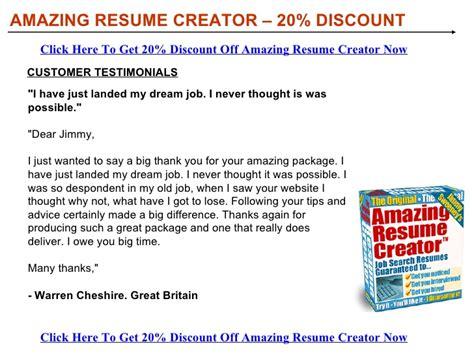 Resume Maker Coupon Code Amazing Resume Creator Discount