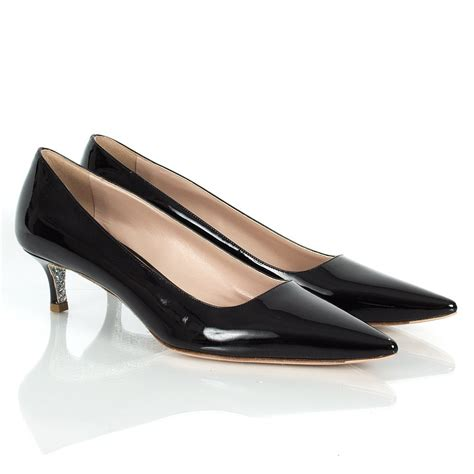 kitten heel shoes miu miu black patent pradesh pointed kitten heel shoes