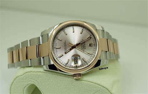 Rolex Oyster Datejust Rg Sepasang akatakuya watches rolex 116201 datejust 18k rg ss 36mm pink chagne oyster band set