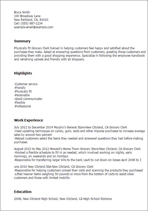 Sle Of Grocery Store Resume Professional Grocery Clerk Templates To Showcase Your Talent Myperfectresume