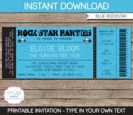 rockstar party ticket invitation template blue birthday