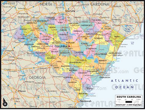 south carolina county map with cities geoatlas united states canada south carolina map