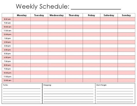 12 printable weekly calendar survey template words