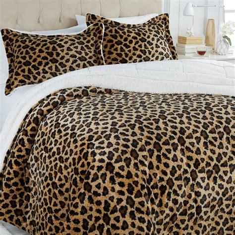 leopard king comforter set soft cozy sherpa comforter set king leopard new ebay