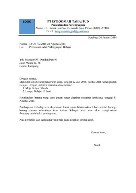 Surat Permintaan Barang by Contoh Surat Permintaan Barang Kotasurat