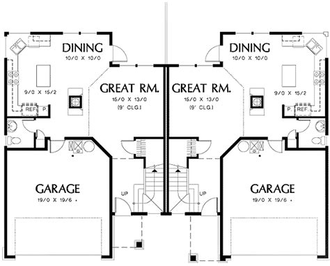 dining room floor plans duplex with outdoor access from dining room 69379am architectural designs house plans