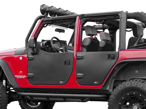 jeep wrangler unlimited half doors rugged ridge 11509 02 rear half doors for 07 17 jeep