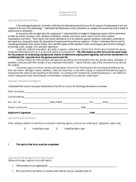 Background Check Employer Background Check Form 3 Free Templates In Pdf Word Excel