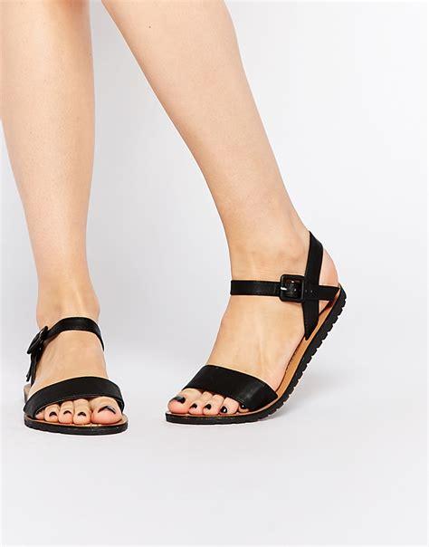 black sandals flat black flat sandals in black lyst