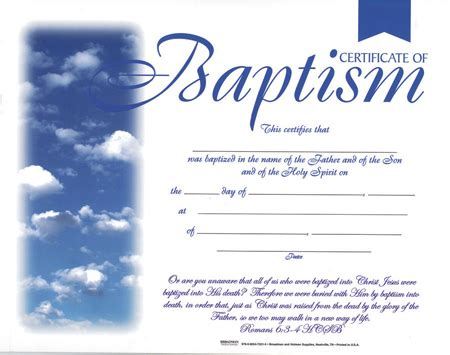 Flat Certificate Baptism B H Publishing Group Christening Certificate Template