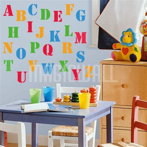 Alphabet Wall Decals For Nursery Wall Decals Colourful Alphabet Nursery Wall Stickers