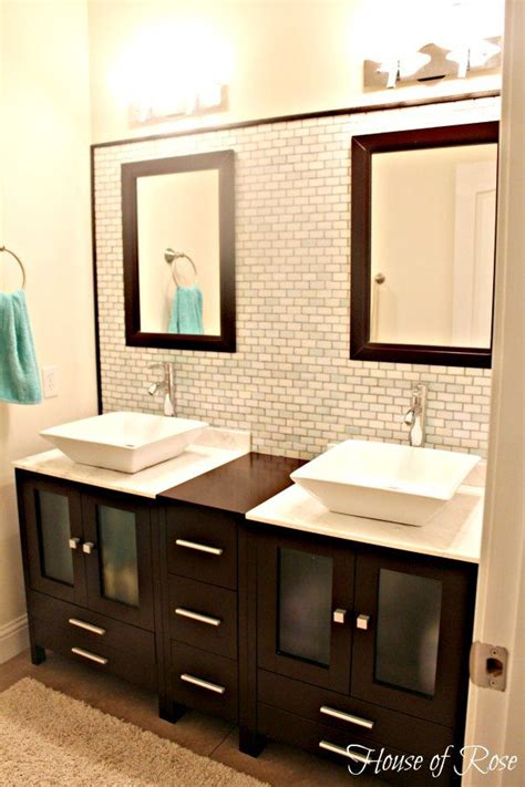 bathroom vanity with her his and her sinks with plenty of storage around the