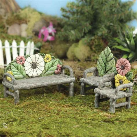 flower bench miniature flower and log bench and chairs set fairy