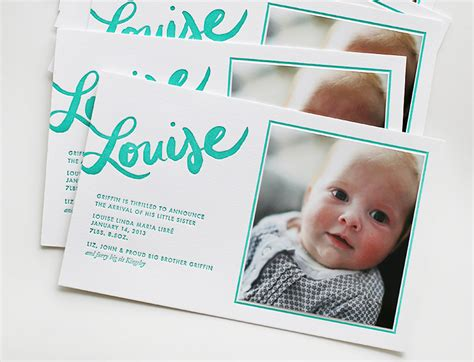 baby announcement louise s turquoise lettered baby announcements