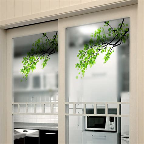 decorative window decals for home 60x58cm frosted opaque glass window film tree privacy