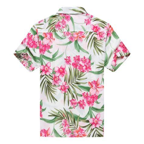 White Hawaiian Shirt by Premium Made In Hawaii S Hawaiian Shirt Aloha Shirt Floral White Pink
