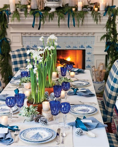 blue  white holiday table setting christmas