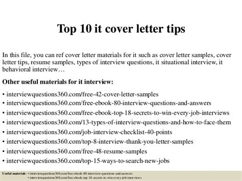 top 10 cover letters top 10 it cover letter tips