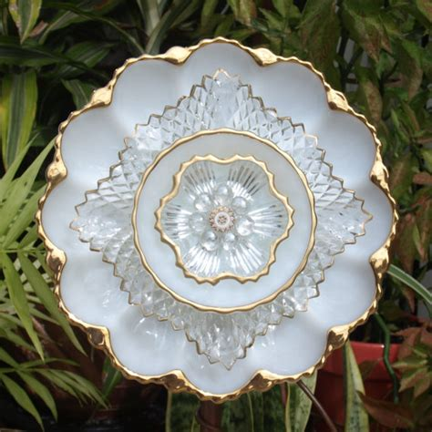 Glass Plate Flower Repurpose Vintage Anchor Hocking Egg Plate Glass Plate Garden Flowers