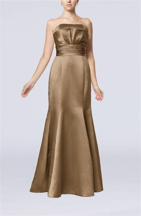 The Litte Brown Dress Project by Bronze Brown Evening Dress Simple Strapless Satin Floor