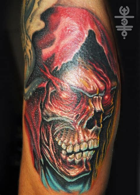 death tattoo design attractive skull design for half sleeve