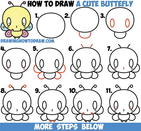 doodle drawing lessons how to draw kawaii butterfly easy step by