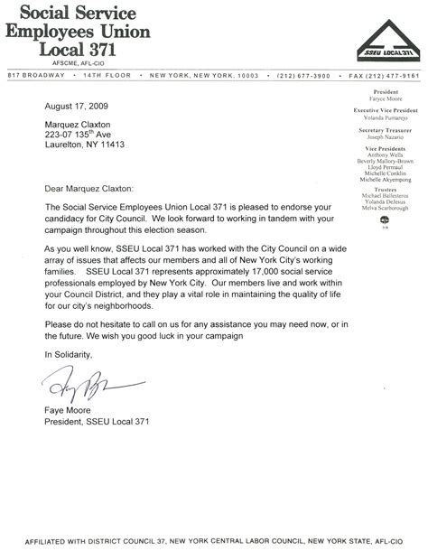 Jumpstart Endorsement Letter Marquez Claxton Receives The Endorsement Of Sseu Local 371 Marquez Claxton For City Council