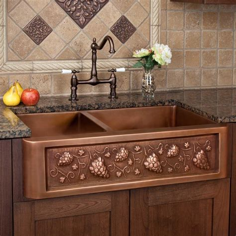 Copper Farm Sinks For Kitchens 33 Quot Tuscan Series 60 40 Offset Bowl Copper Farmhouse Sink Kitchen