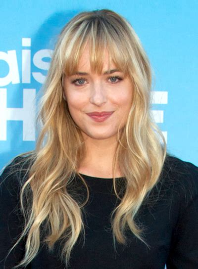 how to get dakota johnson bang long blonde hairstyles with bangs beauty riot