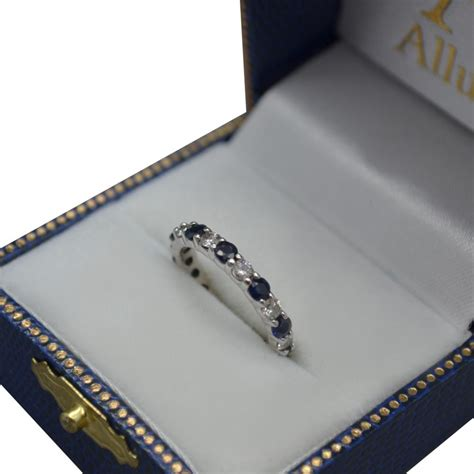 Blue Sapphire 4 35ct eternity blue sapphire ring band 14k white gold