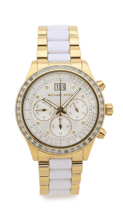 Michael Kors Chronograph lyst michael kors brinkley bezel chronograph gold white in metallic