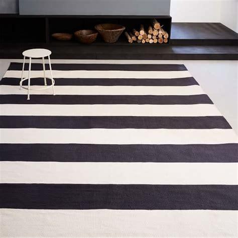 black and white striped kitchen rug bold stripe cotton rug west elm