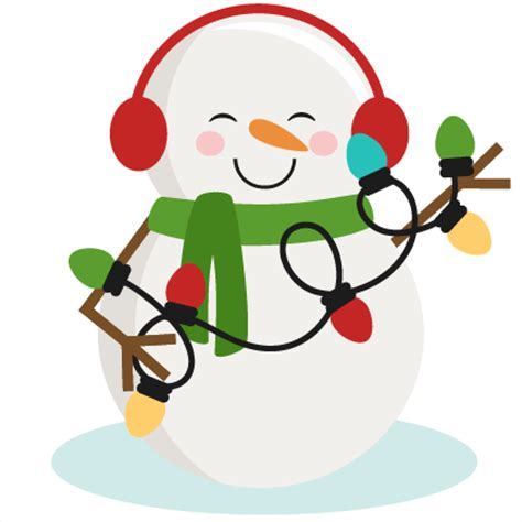 snowman with christmas lights svg cutting files for