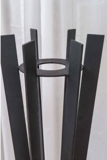 pair  sculptural  tall wrought iron plant stands