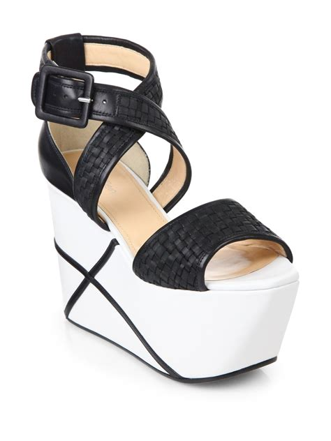 calvin klein wedge sandals calvin klein pauline weave platform wedge sandals in black