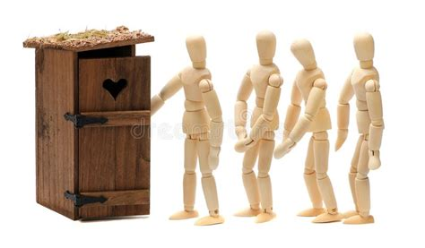 wann beißen welche fische wooden dolls waiting for toilet stock images image 26876504