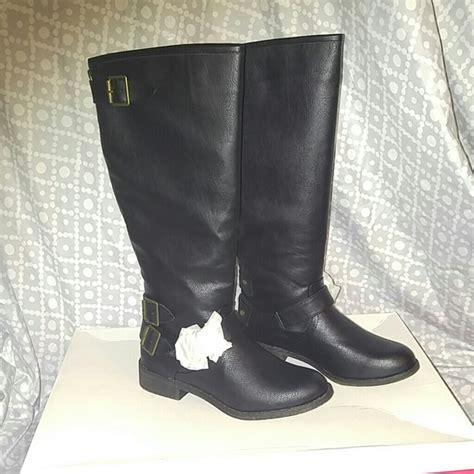 50 justfab shoes black knee high boots from leticia