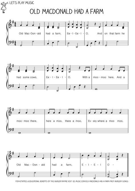 macdonald   farm  nursery songs easy piano