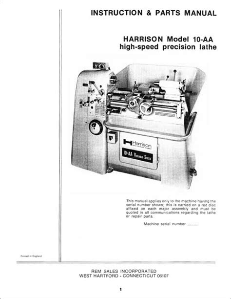 Harrison 10aa Lathe Instructions Amp Parts Manual