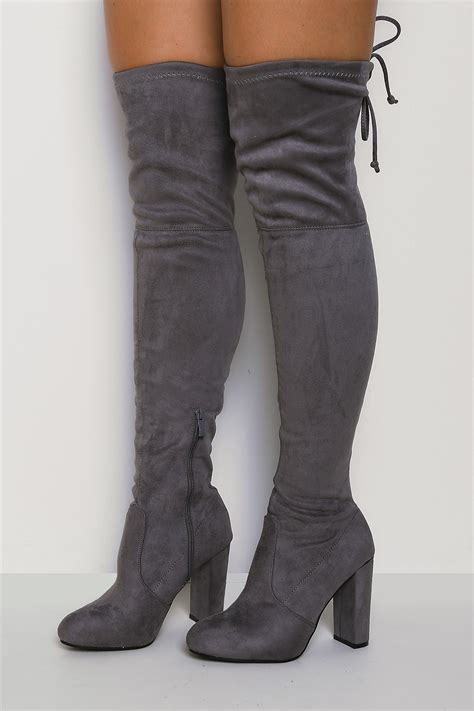 High Grey step it up knee high boots light grey lasula