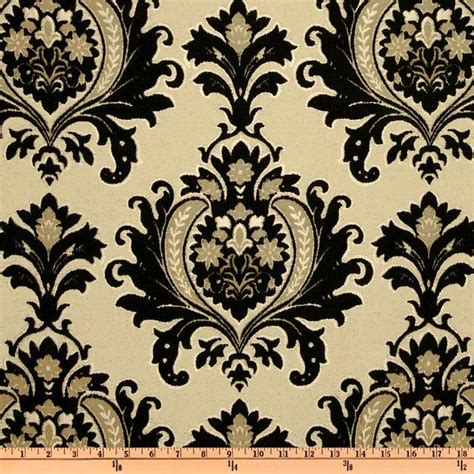 black and cream upholstery fabric kasper sisley damask chenille jacquard black cream