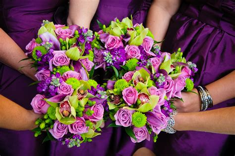 green and purple wedding flowers