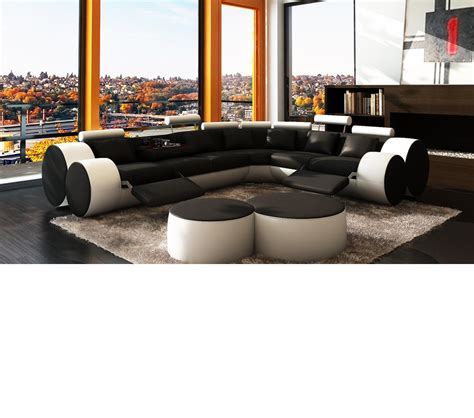 black and white sectional sofa dreamfurniture 3087 modern white and black leather