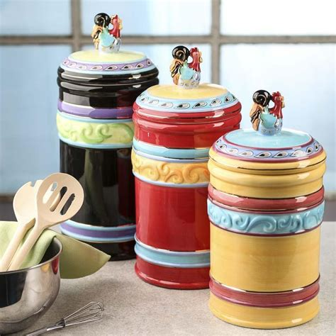 funky kitchen canisters funky rooster ceramic canisters decorative containers