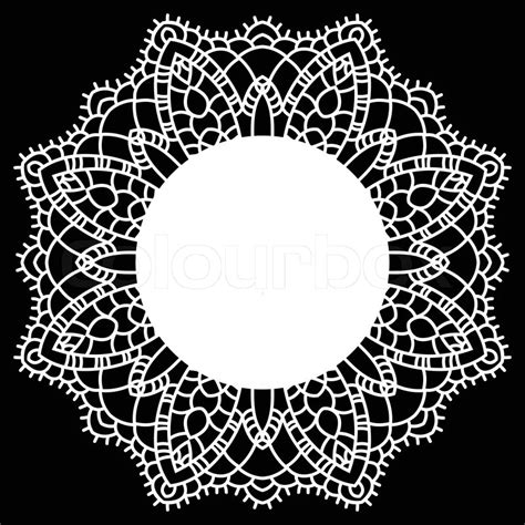 crochet pattern vector vintage handmade knitted doily round lace pattern vector